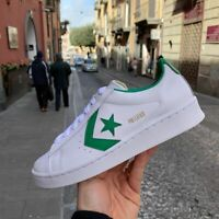 Converse Pro leather ox in pelle bianche e verde sneakers uomo 2020 vintage oro
