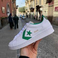 Converse Pro leather vulcan in pelle bianche e blu verde