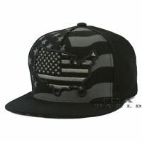 USA AMERICAN Flag hat Stars Stripes Map Snapback Flat bill Baseball cap - Black