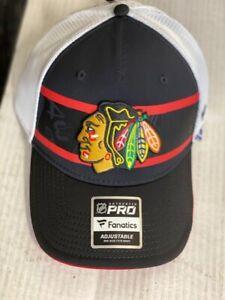 Chicago Blackhawks Fanatics Authentic PRO Adjustable Hat Red Striped Mesh NWT