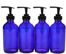 4 Pack Reusable Empty Glass Bottle with Pump Soap Shampoo Lotion Large 8 Oz Blue