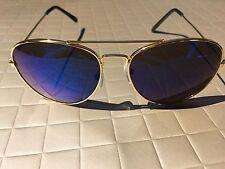 BLUE Mirror Lens Aviator Sunglasses Vintage New Men Women Gold Frame Retro Hot