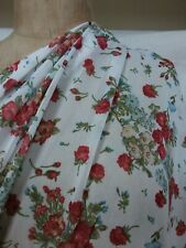 Red flowers ivory polyester stretch tulle mesh lace fabric remnant 1 m x 72 cm