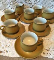 Denby Stoneware ODE 6x Cups & Saucers Milk Jug Sugar Bowl Mustard Yellow