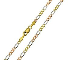 14K Solid Real Yellow White Rose 3 Color Gold Figaro Chain Necklace 2.5mm 20""
