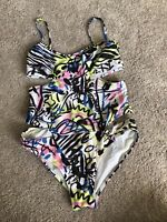 Moschino Women's swimsuit  Solid Tie Front Maillot Green 2  S/34