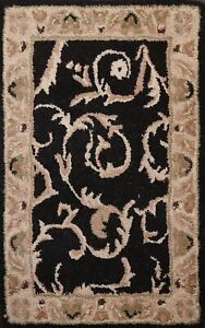 Black Traditional Floral Hand-Tufted Oriental Area Rug Wool Kitchen Carpet 2'x3'