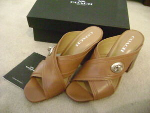 NEW COACH Saddle Brown Turnlock detail MEGGIE heeled sandals-size 9