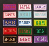 Personalised Embroidered Name Patch Badge Rectangular Iron on or sew 100 x 40