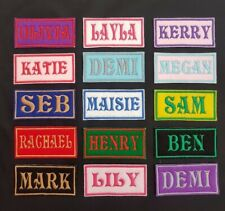 Personalised Embroidered Name Patch Badge (Rectangular) Iron on or sew 80 x 38