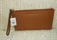 NWT Michael Kors Jet Set Leather LG Zip Clutch Wristlet Luggage Brown
