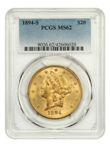 1894-S $20 PCGS MS62 - Liberty Double Eagle - Gold Coin