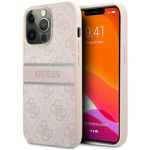 Genuine Guess Stripe 4G Metal Logo Hard Case Cover For iPhone 13 Pro Max - Pink