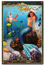 Salt Water Taffy Best Taffy By The Sea Mermaid Aluminum Sign Garage Art