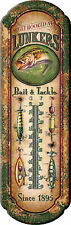Lunkers Bait and Tackle Tin Thermometer Bass Vintage Look,Antique Lures 1291