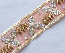 Hand-Beaded, Jacquard Trim. Rose, Silver & Gold