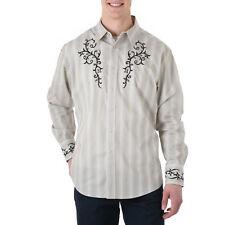 WRANGLER Mens EMBROIDERED YOKE Shirt - 2XL - Tan Stripe