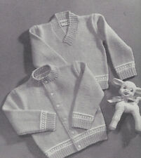 Vintage Knitting PATTERN to make Baby Sweater Cardigan & V Pullover Sz 1, 2, 3