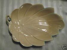 Harold Johnson Large Leaf Bowl, 1940s Teal / Beige