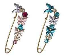 butterfly multicolored crystal style hairpin nurse Set of 2 pcs Brooch golden