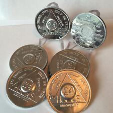 Set of 10 Aluminum 24 Hours Hour AA Medallions Serenity Prayer Bulk Lot Chips