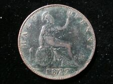 Great Britain 1877 Half Penny Coin Queen Victoria Antique Good Details