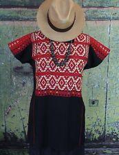 Traditional Black Red & Cream Huipil Larrainzar Chiapas Mexico Hand Woven Hippie