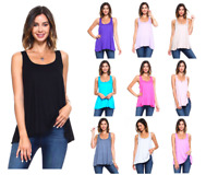 Women's Sleeveless Loose Fit Flowy Workout Racerback Tank Top S-3X Plus Size USA