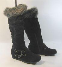 """Blacks 1.5""""low hidden wedge heel comfortable  knee boot top fur  .Size.  6"""