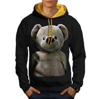 Wellcoda Cute Plush Mens Contrast Hoodie, Teddy Bear Casual Jumper