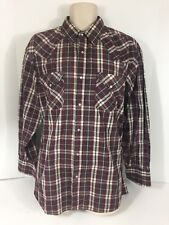 Vintage Ely Cattleman Men's XL Maroon Plaid Pearl Snap Button Long Sleeve Shirt