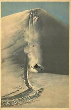 Postcard Downhill Skiing, used from St. Niklaus, Switzerland in 1933