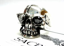 Men's Skull Ring With Black And White Diamonds