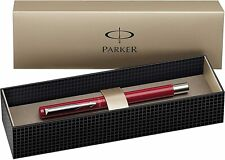 Parker Fountain Pen Vector Stainless Steel Trim with Medium Nib, Gift Box - Red