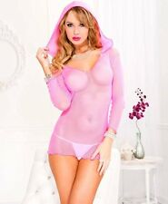 Sexy Stripper Dress Neon Pink Hood Fishnet Clothes See Through Lingerie 8-10-12