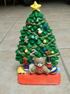 VTG CAST IRON  CHRISTMAS TREE PAINTED DOOR STOPPER