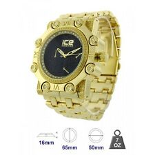 ICE MASTER GLITZ GOLD TONE,BLACK PAVE CRYSTAL BLING OVERSIZE DIAL METAL WATCH