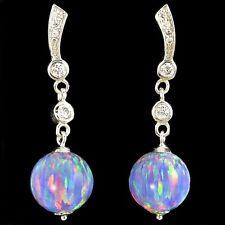 Alducchi Lavender  Lab Fire Opal / 10mm / - CZ .925 Sterling Silver earrings