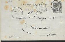 ENTIER  POSTAL  CARTE POSTALE  TYPE SAGE  1894