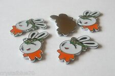 Enamel Rabbit Charms Qty 5 - 29x17x2mm Orange White & Green Pendants - OR01