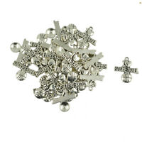 """100Pcs /""""Made With Love /""""Letter Tibetan Silver Charms Pendants 11mm EIF0055"""