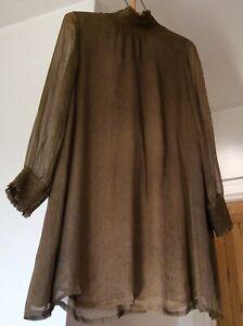 ANTIK BATIK Khaki 100% Silk 'SPIRAL' Boho Scandi Dress Size 14