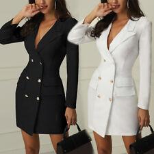 Vestido corto mujeres mangas largas y cuello en V chaqueta larga de doble abotonadura Abrigo