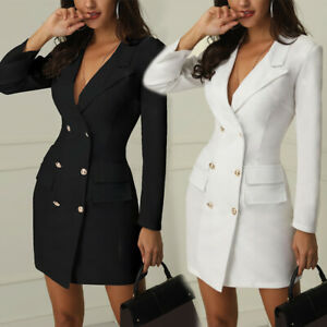Women V-neck Double Breasted Short Dresses Long Jacket Trench Coat Sexy Fashion
