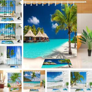 Summer Tropical Ocean Beach Shower Curtain Set Waterproof Fabric Bathroom Hooks