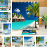 Tropical Ocean Beach Shower Curtain Set Waterproof Fabric Bathroom w/12 Hooks