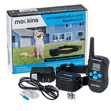 Mockins 990' FT Remote Rainproof DOG COLLAR Rechargeable Vibration Shock Collar