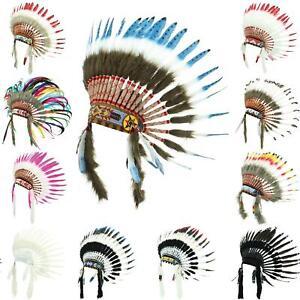 Indian Chief Headdress Native American Feather Hippie Festival Fancy Dress