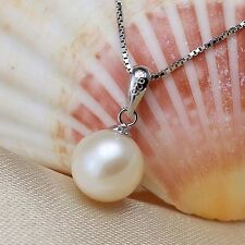 Fashion White Freshwater Pearl Pendant Necklace Silver Chain Jewelry Best Gift