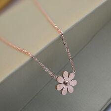 "14K Rose Gold 13mm Daisy Flower Pendant Stainless Steel 17"" Necklace Gift Box"